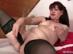 Lusty bitch rides her son in law cock