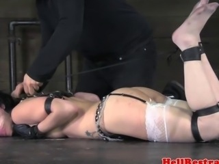 Hogtied bdsm submissive babe tickled