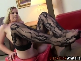 Stockings toes get cummed on by black dick in hi def
