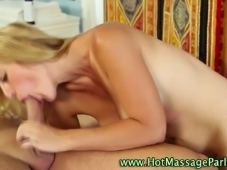 Sixty nining blonde masseuse babe sucks clients hard cock