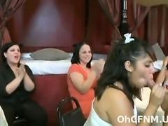 Sexy women sucking stripper cock