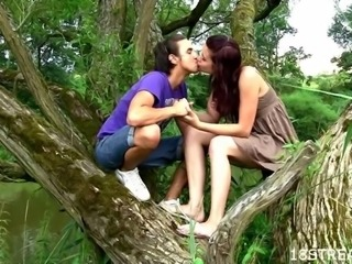 Nature becomes the perfect place for a stunning teen fucking