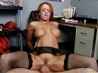 Jordan Ash whips out his meat stick to fuck devilishly sexy Janet Masons throat