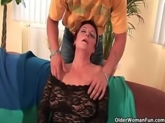 Sexy grandma enjoys his cock in her mouth and hairy pussy free