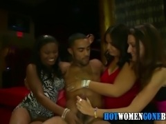 Cfnm party babe gets facialized by black strippers dick