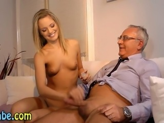 Teen babe fingers then fucks and jerks old cock to cumshot in hd