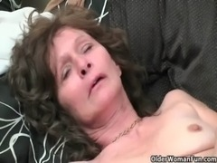Saggy granny in stockings masturbates hairy pussy free