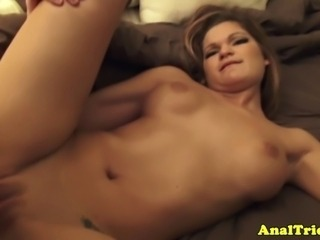 First time anal sex for an amateur blonde girlfriend who likes it fine