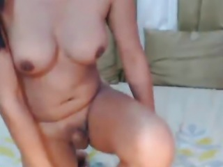 Busty Tranny Jerks off her Cock