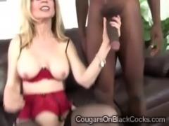 Slutty MILF in sexy stockings Nina Hartley sucks off gifted black man free