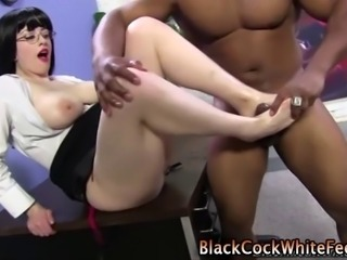 Busty white fetish hoe foot fucks black dudes hard dick