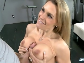 Hot British MILF Tanya Tate gets titty fucked and fucked hard before she is blasted on her huge tits!