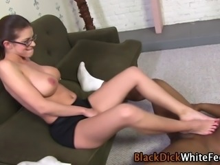 Busty spex clad hoes white toes cummed on by black dick