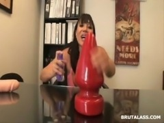 Ava Devine sitting on massive anal dildo and butt plug free