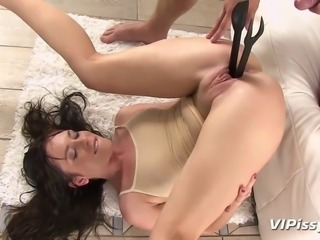 Sexy Czech babe Jessica Rox gets her panties and top soaked clear through with her man's pee while she sucks his dick and she just keeps right on going for a hot pissing good time.