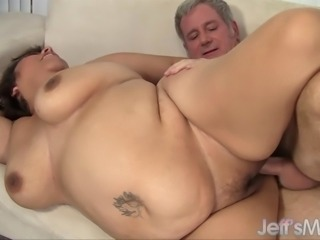 A grey-haired geezer licks large latina Toosie's fat pussy and then sticks...
