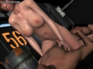 Animated babe with round butt gets slammed