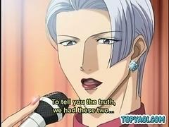 Hentai gay couple having hardcore anal sex between silk shee
