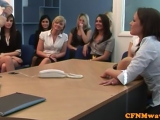 CFNM femdom office babes demand to see cock and make dude play