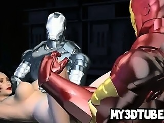 Hot 3D cartoon brunette gets fucked hard by Iron Man