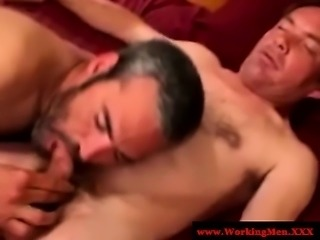Hungry redneck amateur getting sucked by bear