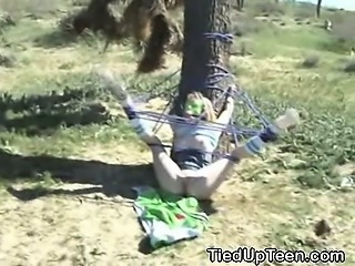Tied And Gagged Teen Fucked And Taking Cumshot Outdoors