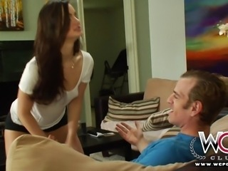 Beautiful brunette Lily Carter is so horny for cock that she can't stop...
