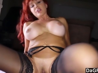 This busty redheaded latina cougar is having a real treat today. A young man all ripe for her. He gets his dick sucked by this hot milf and jizzes on her face.