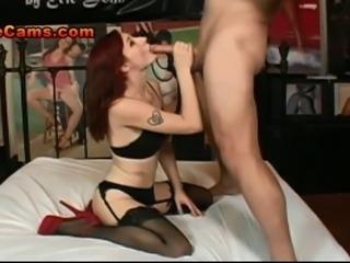 Gorgeous Teen Redhead Sucks A Cock As Big As Her Head And Sucks His Big Balls