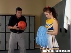 Flexible cheerleader fucked by coach in the locker room