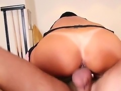 Attractive tanned bombshell Lezley Zen with round bouncing bums in arousing...