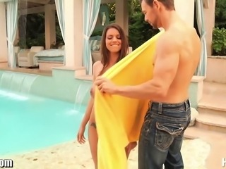 Sultry brunette angle Brooklyn Chase is showing off her amazing 32 DD in an heavenly outdoor setting when Erik makes his entrance