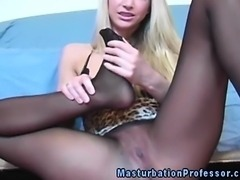 Blonde nylons babe horny as hell