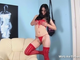 Dark haired Rosy loves to suck cock and finger her sexy little pussy