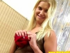 Blonde piss fetish babe fingers her vulva