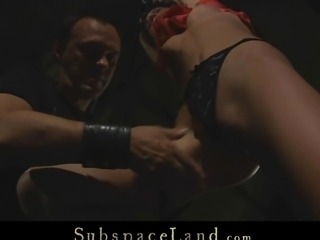 Harsh wax submission for a sexy slave girl in bdsm
