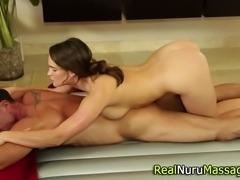 Sexy masseuse sucks cock in the bath in hd