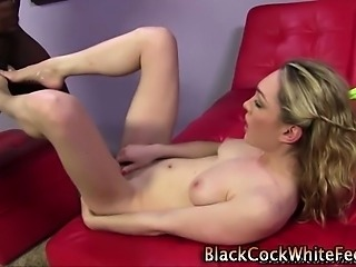 White whore gives footjob
