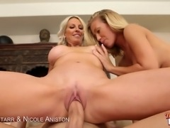 Nicole Aniston and Emma Starr the milf get fucked hard with a cock as they...