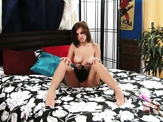 Brunette asian hottie Lacey Leveah with shaved cunt does her best to get you...