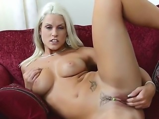 Blanche Bradburry is a dreamy blonde with a slim and firm body made for fucking, but she uses her free time naked and with fingers in her pussy.