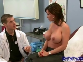 Very sexy brunette with huge boobs needs her doctor to please her dripping wet pussy with his huge throbbing cock