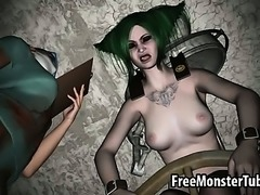 Green haried 3D babe getting fucked by a machine