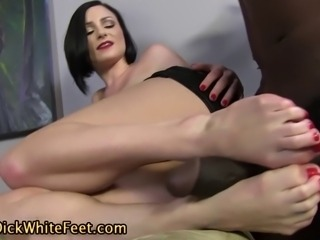 Fetish sluts sexy white feet cummed on by black cock