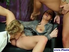 Three hot fetish babes drinking pee and masturbating together
