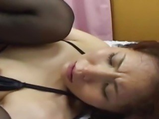 Skinny Japanese slut fingered and fucked in a trio uncensored