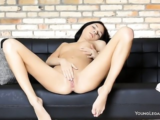 Jasmin with small boobs and shaved beaver enjoying great anal masturbation session