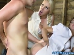 Ava Dalush shares his hard cock with Victoria Summers in the stables