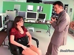 Alluring brunette secretary slut with nice tits and some