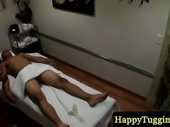 Real asian masseuse giving handjob